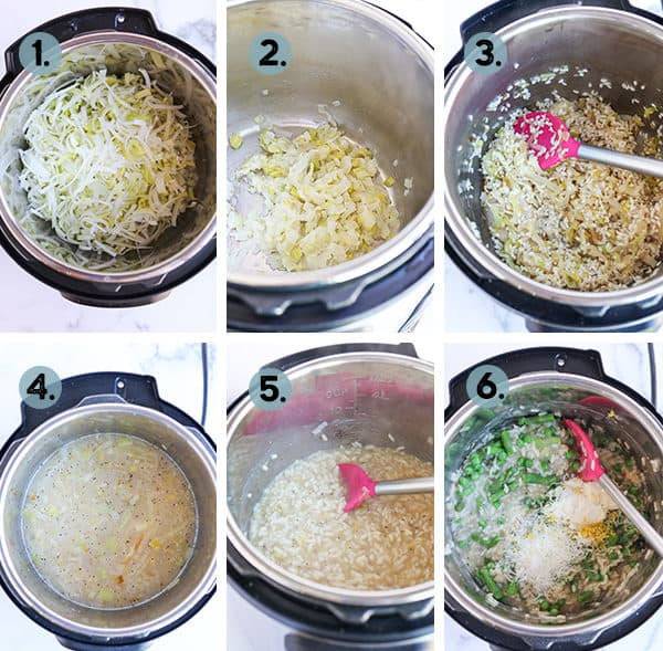 step by step collage of how to make Instant Pot Lemon Risotto with Asparagus and Peas