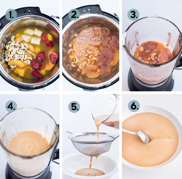 step by step collage of how to make fruit soup in the instant Pot