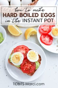 Instant Pot hard boiled eggs on toast with tomatoes and avocados