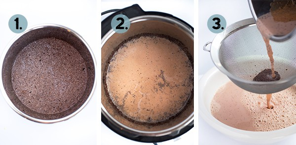 step by step collage of how to make instant pot strawberry crio bru