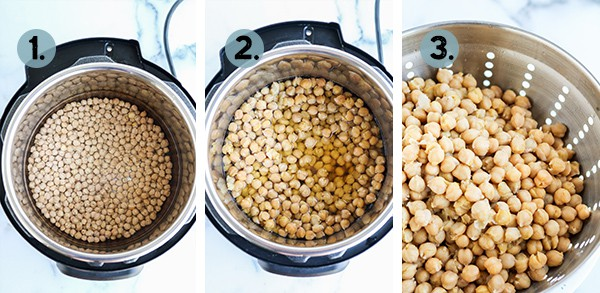 Step by step collage of how to make chickpeas in the instant pot pressure cooker