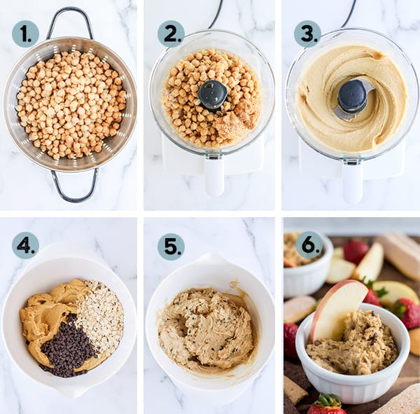 step by step collage of how to make healthy cookie dough