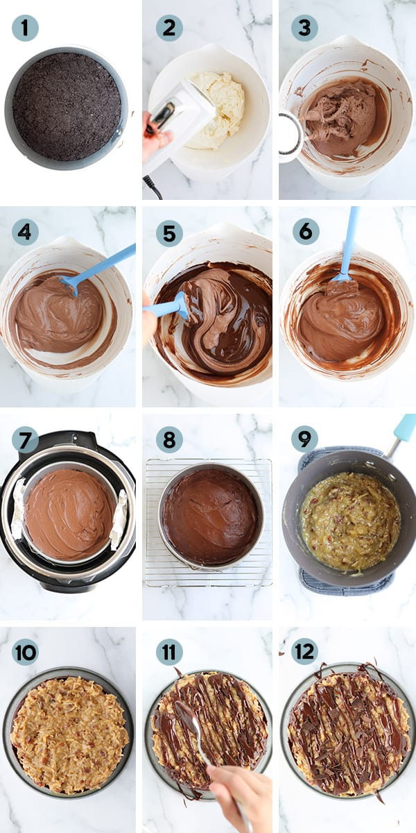 step by step collage of how to make Instant Pot German Chocolate Cheesecake
