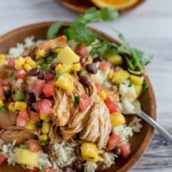 Instant Pot Healthy Orange Chicken with Mango Black Bean Salsa