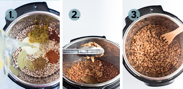 Step by step collage of how to make instant pot pinto beans