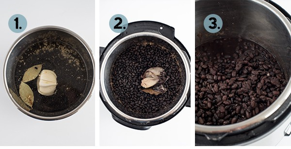 Step by step collage of how to make Instant Pot Black Beans