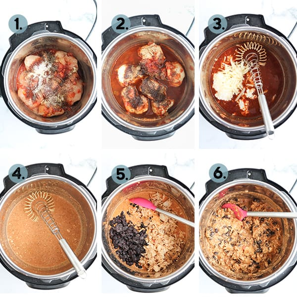 step by step collage of how to make Instant Pot Healthy Crack Chicken