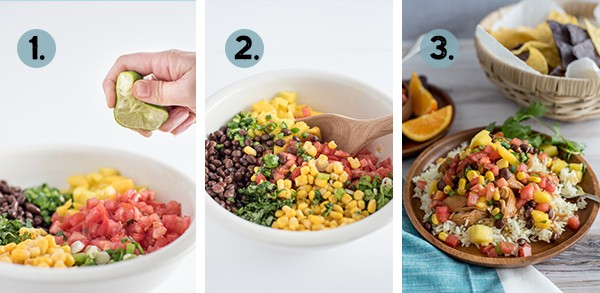 Step by step collage of how to make mango black bean salsa