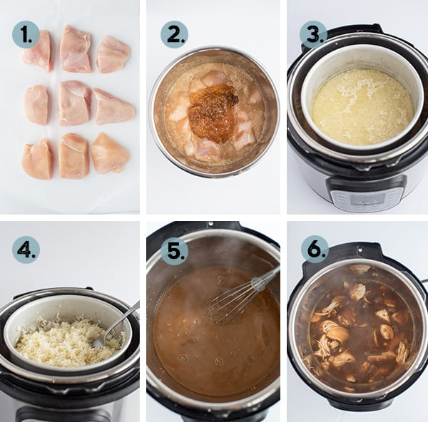 step by step collage of how to make instant pot orange chicken