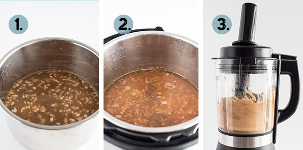 step by step collage of how to make instant pot refried beans in the pressure cooker