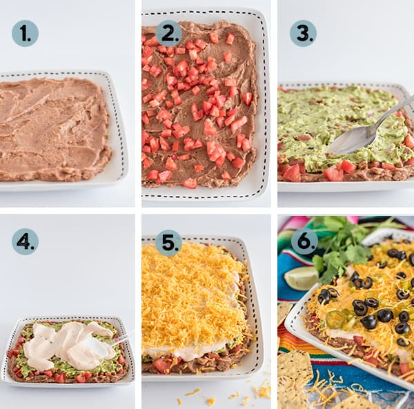 Step by step collage of how to make 7 layer bean dip