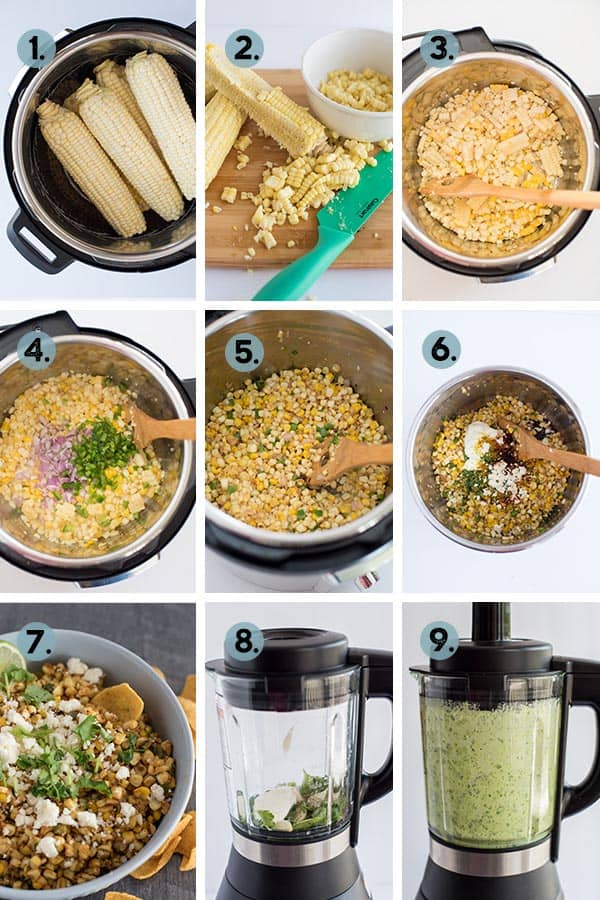step by step collage on how to make Mexican Street Corn Salad in the Instant Pot