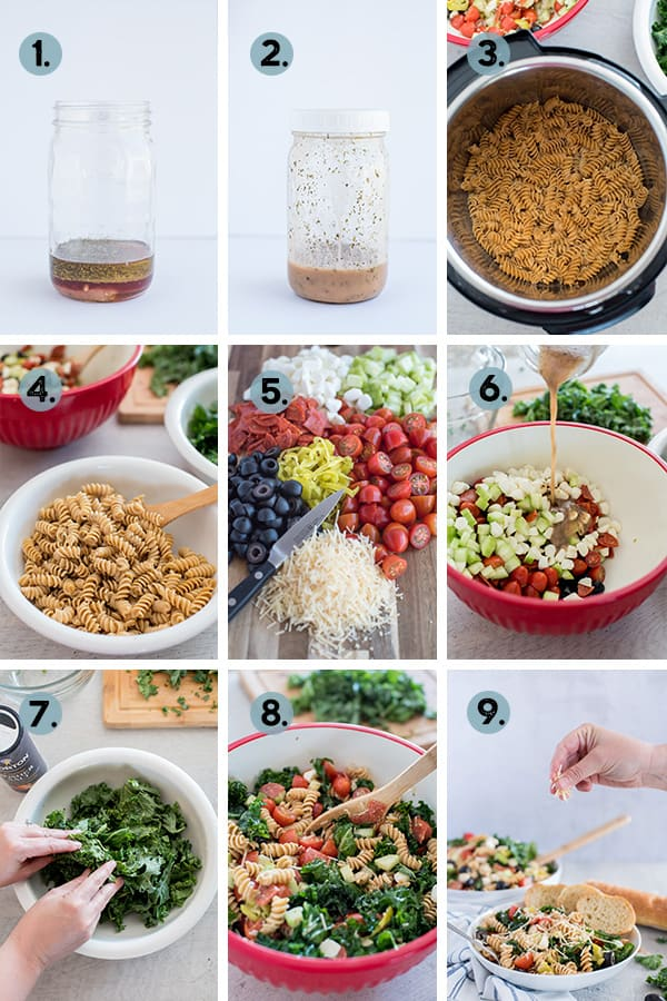step by step collage of how to make classic pasta salad