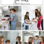 kids and mom cooking together in the kitchen