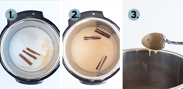 Step by step collage of how to make cinnamon syrup in the Instant Pot