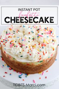 Vanilla cheesecake with oreo crust and colorful sprinkles