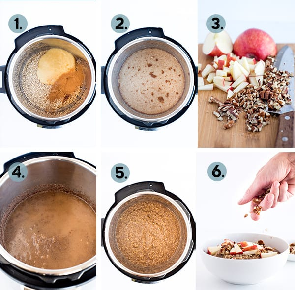step by step collage of making apple steel cut oats in the instant pot pressure cooker