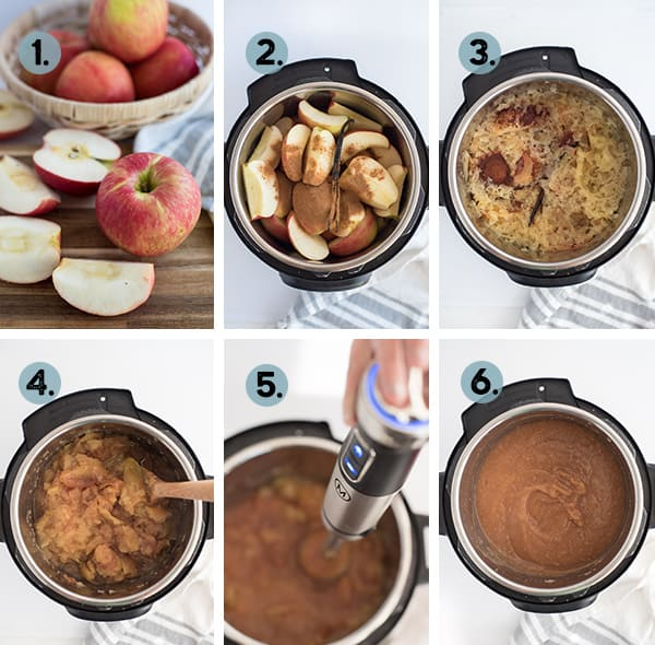 step by step collage of how to make apple sauce in the instant pot