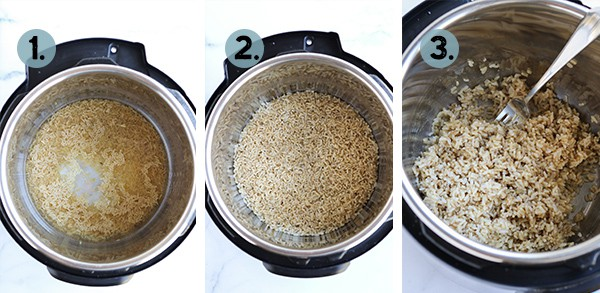 step by step collage of how to make Instant Pot Brown Rice