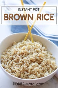 Instant Pot Brown Rice in a white bowl with chopsticks