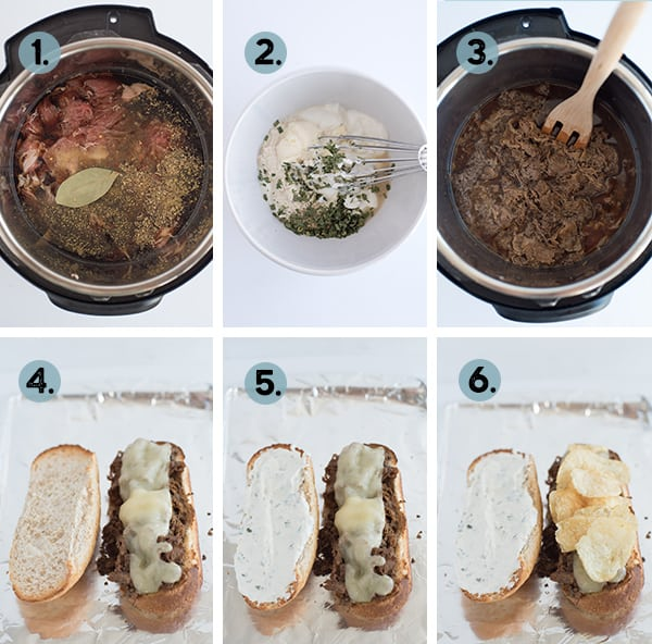 Step by step collage of how to make Instant Pot French Dip