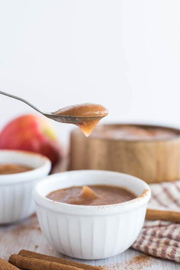 spoon of apple sauce in a white bowl