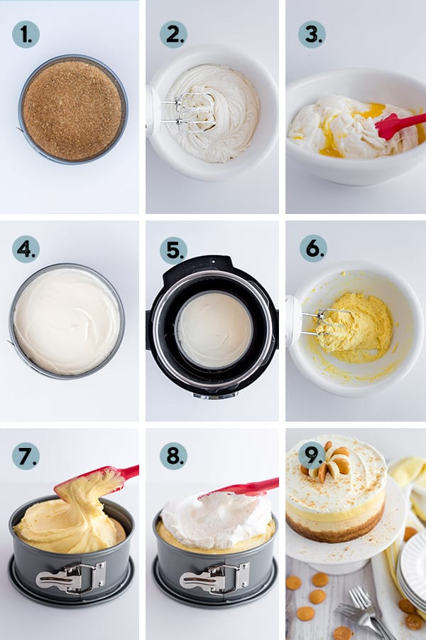 step by step collage of how to make cheesecake in instant pot