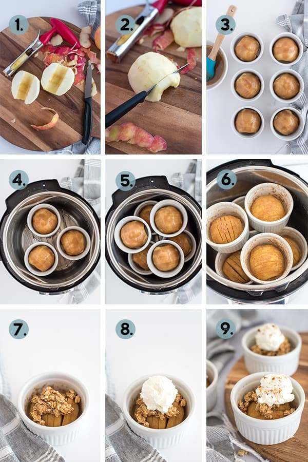 step by step collage for how to make instant pot hasselback apples