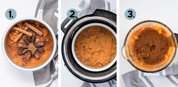 Step by step collage for how to make pumpkin butter in the Instant Pot