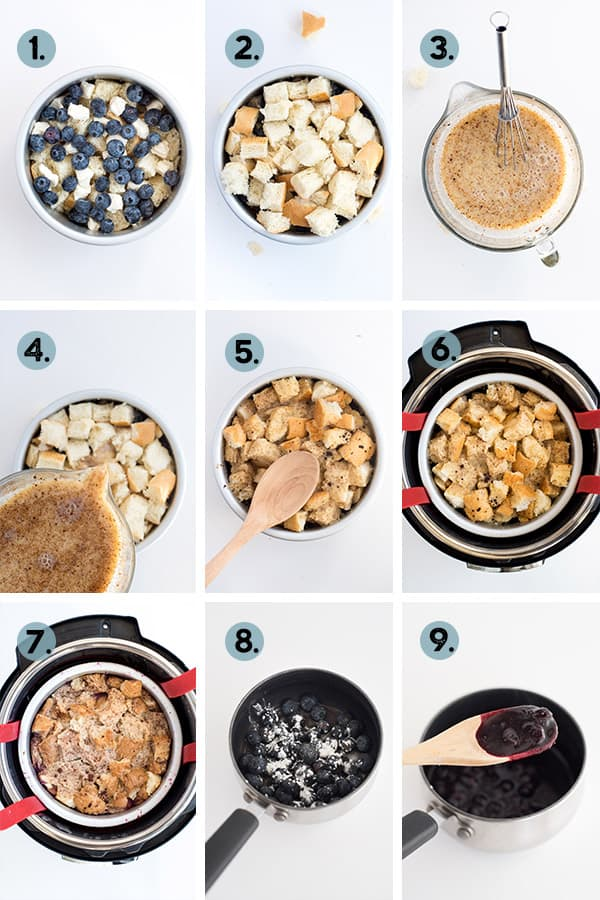 step by step collage of how to make french toast casserole in the instant pot