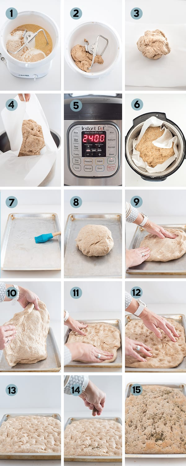 step by step collage of how to make whole wheat focaccia bread