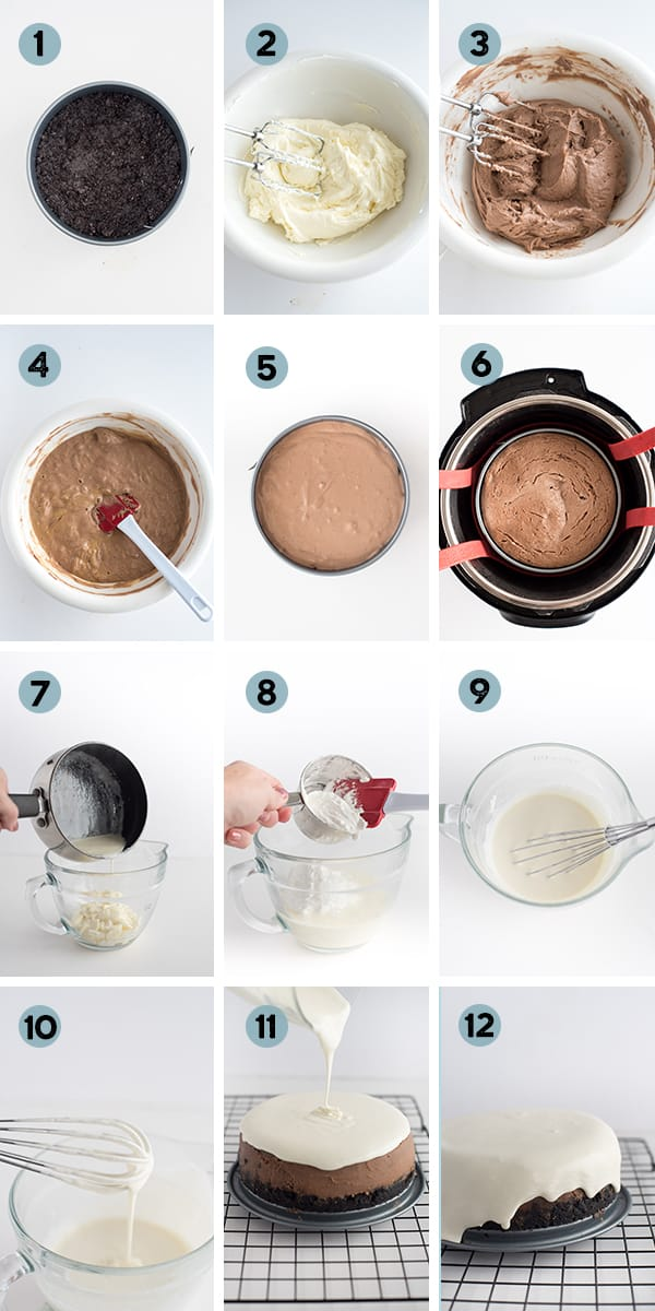step by step collage of how to make Instant Pot Hot Chocolate Cheesecake
