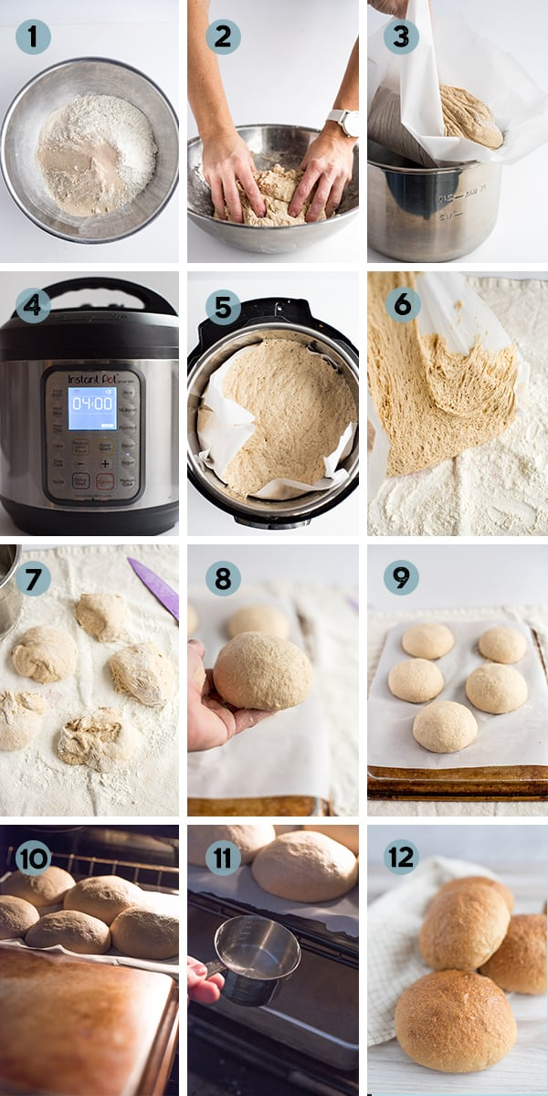 step by step collage of how to make bread bowls