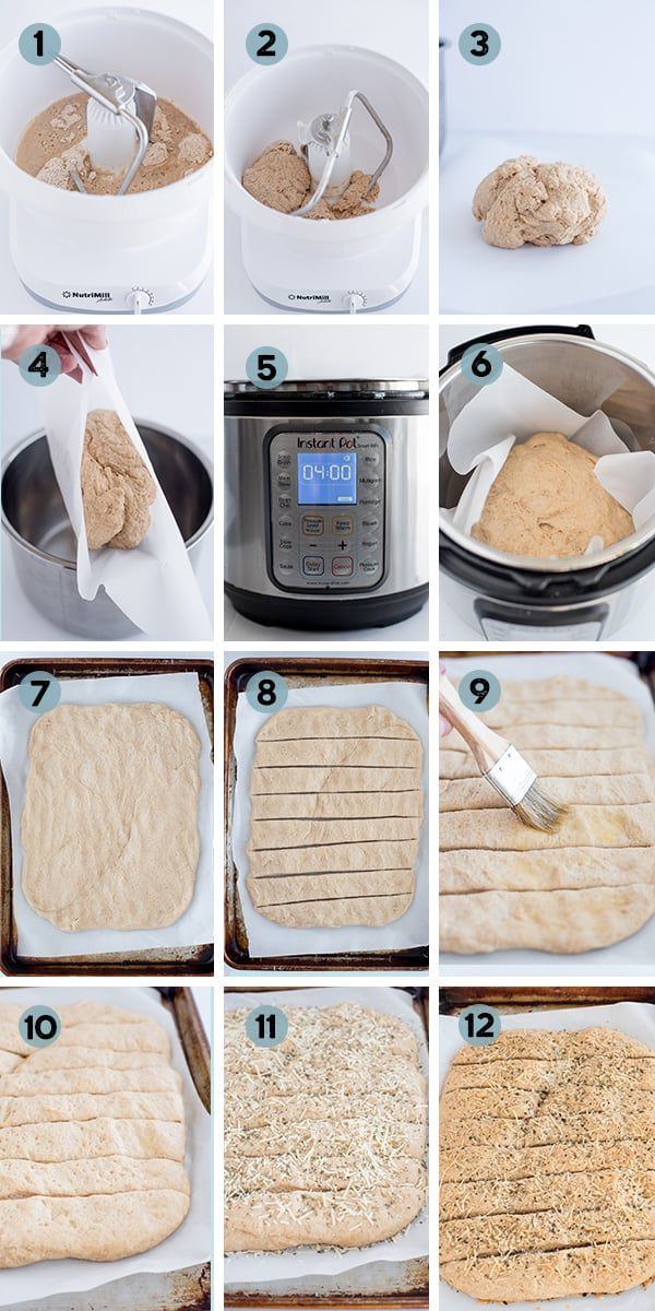 step by step collage of how to make whole wheat breadsticks