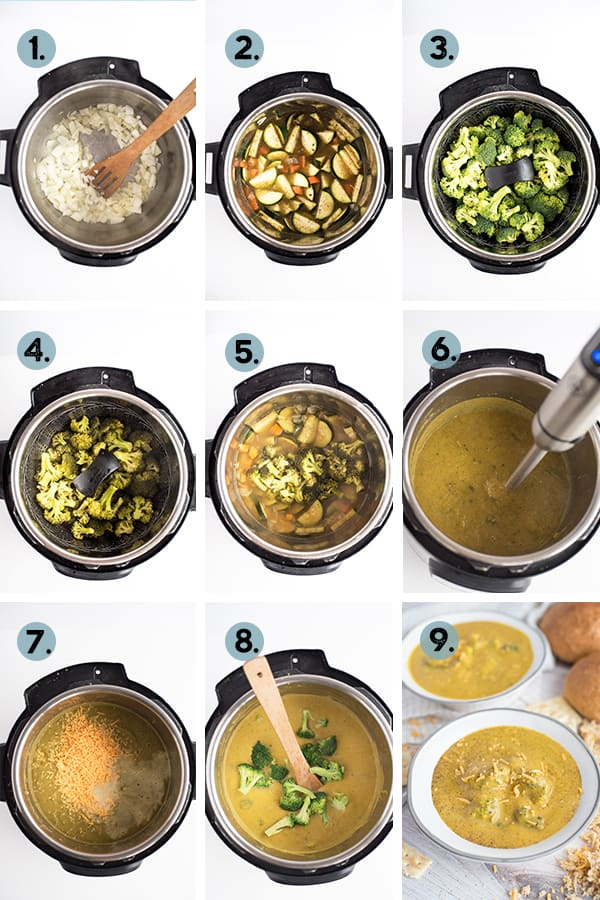 step by step collage of how to make broccoli cheddar soup in the instant pot