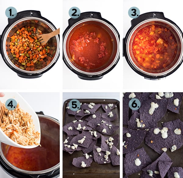 step by step collage of how to make instant pot buffalo chicken soup