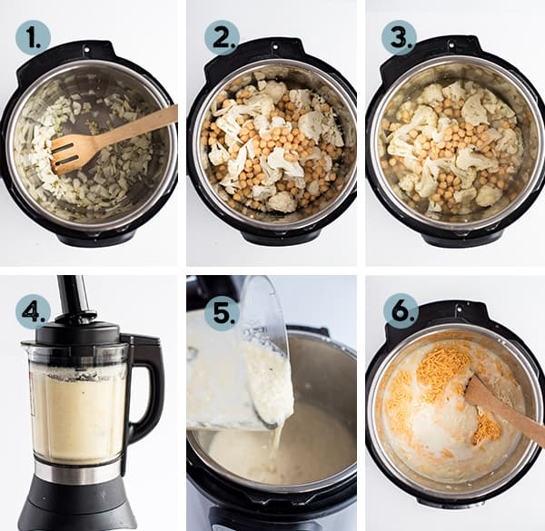 step by step collage of how to make instant pot cauliflower soup