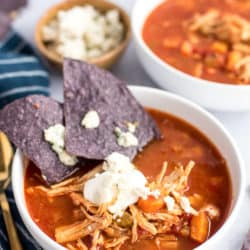Instant Pot Buffalo Chicken Soup with Blue Cheese Nachos