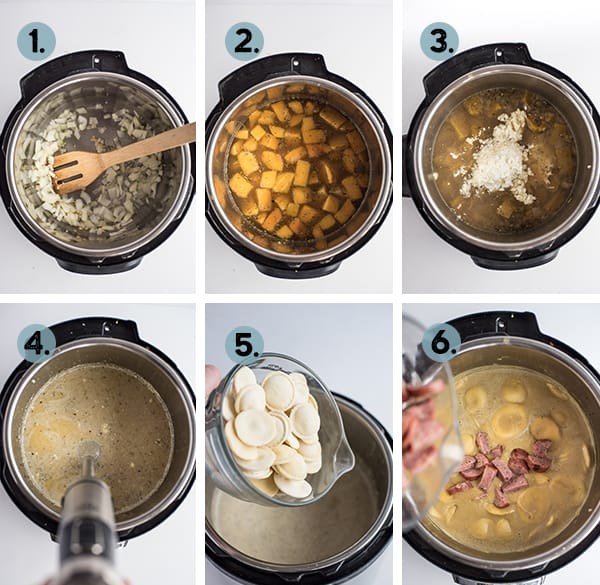 step by step collage of how to make instant pot butternut squash soup