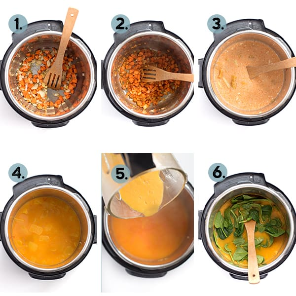 step by step collage of how to make curry butternut squash soup in the instant pot