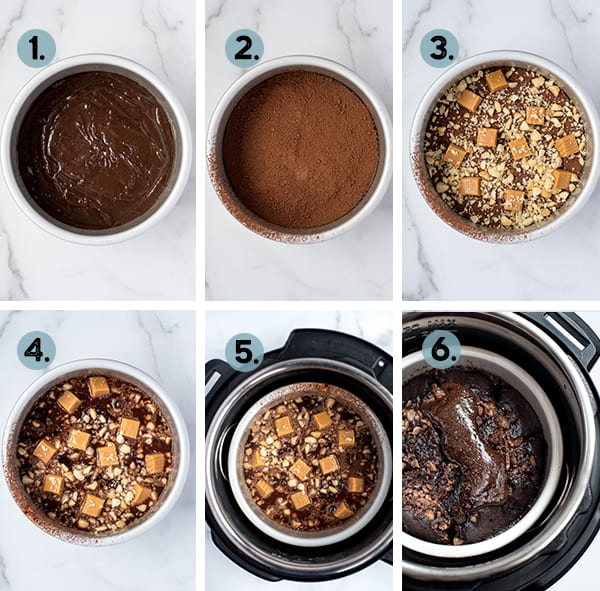 step by step collage of how to make instant pot brownie pudding