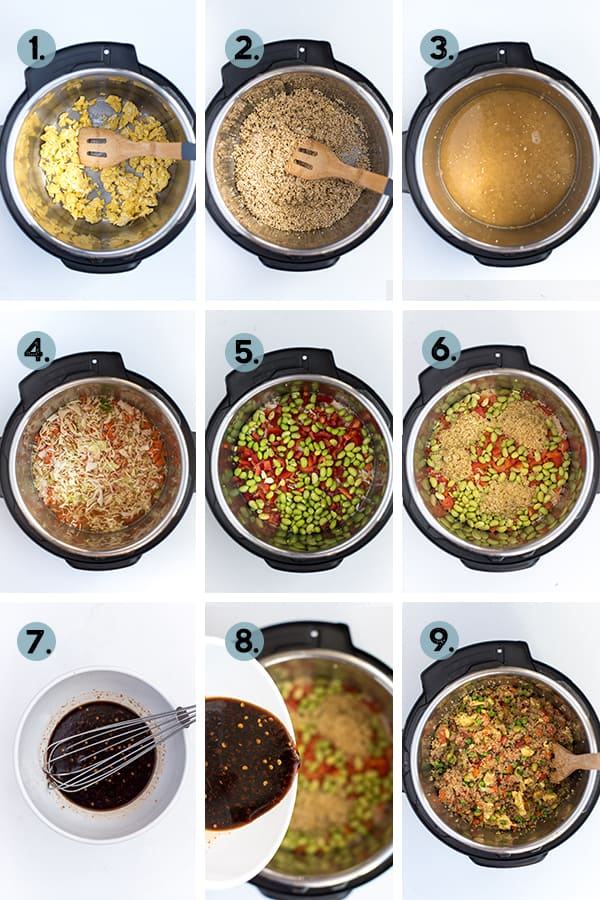 step by step collage of how to make quinoa fried rice in the Instant Pot