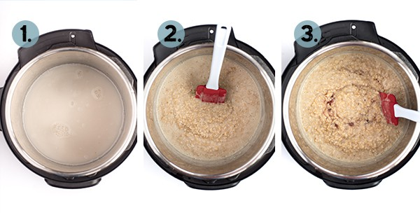 step by step collage of how to make steel cut oats in the instant pot