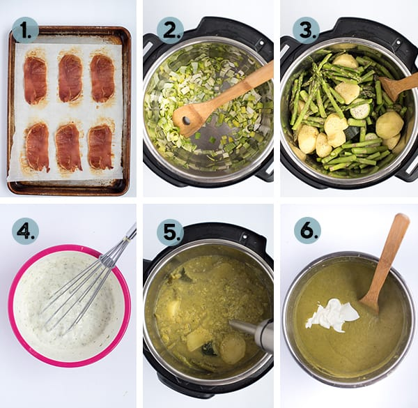 step by step collage of how to make asparagus soup in the instant pot
