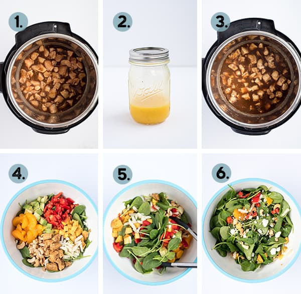 step by step collage of how to make caribbean chicken salad in the instant pot