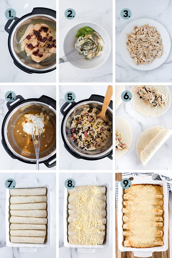 step by step collage of how to make chicken enchiladas