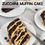 chocolate zucchini cake on a white plate drizzled with peanut butter