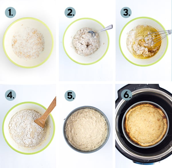 step by step collage of how to make a giant pancake in the instant pot