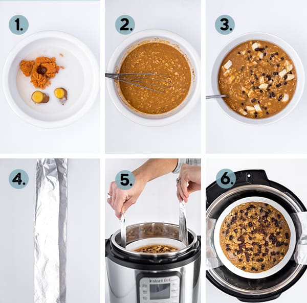 step by step collage of how to make banana oatmeal in the instant pot