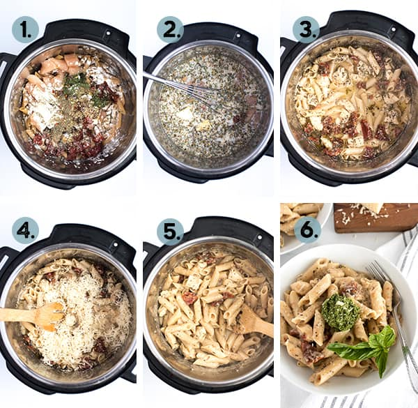 step by step collage of how to make sundried tomato pasta with pesto in the instant pot